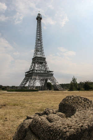 Slobozia, Romania, August 30, 2009: A replica of Eiffel Tower is seen in the thematic park of Hermes Farm in Slobozia.