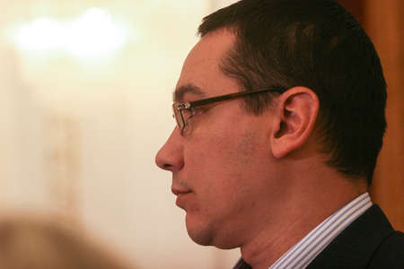 Bucharest, Romania, October 14, 2009: Politician Victor Ponta attends a press conference in Bucharest. Editorial