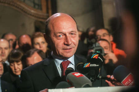 Bucharest, Romania, November 22, 2009: Politician Traian Basescu reacts after the announcement for the results of the presidential elections.