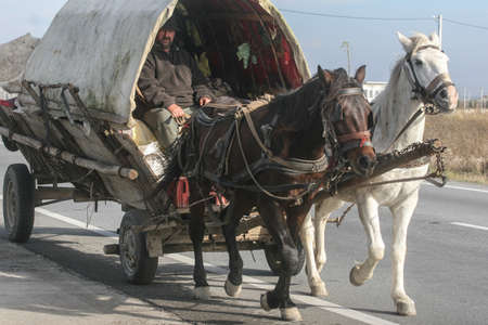 Craiova, Romania, November 8, 2009: Gypsy caravan on the road.