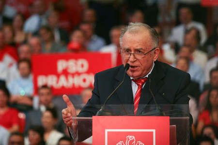 presidential: Bucharest, Romania, October 2, 2009: Politician Ion Iliescu participates to the presidential campaign rally of Romanian Social Democrat Party in Bucharest. Editorial