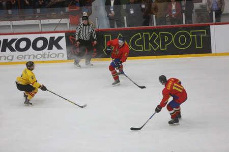 GALATI, ROMANIA, April 09, 2017: The ice hockey game between Romania and Spain in 2017 IIHF ICE HOCKEY WORLD CHAMPIONSHIP Div. II Group A.