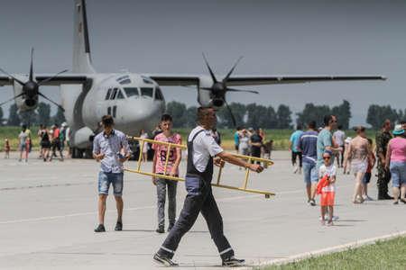 BUZAU, ROMANIA, June 18, 2016: Alenia C-27J Spartan airplane in the BOBAS air show, on the Boboc aerodrome in Buzau.