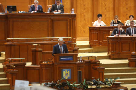 national congress: BUCHAREST, ROMANIA - June 21, 2017: Liviu Dragnea, President of Social Democrat Party speaks in front of Parliament during a no-confidence vote against Sorin Grindeanus Cabinet. Editorial