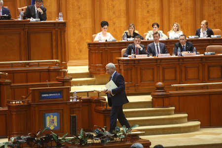 BUCHAREST, ROMANIA - June 21, 2017: Liviu Dragnea, President of Social Democrat Party speaks in front of Parliament during a no-confidence vote against Sorin Grindeanus Cabinet. Editorial