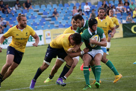 BUCHAREST, ROMANIA - June 24, 2017: Rugby test game between Romania and Brasil, won by Romania with 56 to 5.