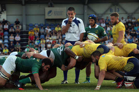 rival: BUCHAREST, ROMANIA - June 24, 2017: Rugby test game between Romania and Brasil, won by Romania with 56 to 5.