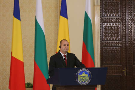 BUCHAREST, ROMANIA  - June 28, 2017:  Bulgarian President Rumen Radev speaks speaks during the joint press conference with Bulgarian counterpart in his first official visit in Romania. Editorial
