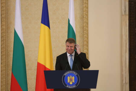 BUCHAREST, ROMANIA  - June 28, 2017:  Romanian President Klaus Iohannis speaks during the joint press conference with Bulgarian counterpart in his first official visit in Romania.
