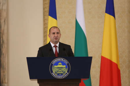 rumen: BUCHAREST, ROMANIA  - June 28, 2017:  Bulgarian President Rumen Radev speaks speaks during the joint press conference with Bulgarian counterpart in his first official visit in Romania. Editorial