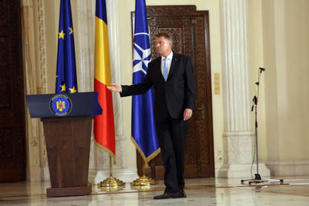 BUCHAREST, ROMANIA  - June 29, 2017: Romanian President Klaus Iohannis speaks during a swearing-in ceremony of Mihai Tudose Cabinet at Cotroceni palace in Bucharest, capital of Romania, June 29, 2017.