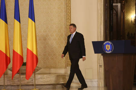 BUCHAREST, ROMANIA  - June 29, 2017: Romanian President Klaus Iohannis participates at the swearing-in ceremony of Mihai Tudose Cabinet at Cotroceni palace in Bucharest, capital of Romania, June 29, 2017.