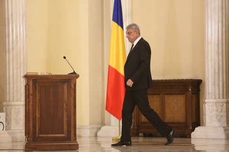 BUCHAREST, ROMANIA  - June 29, 2017: Romanian Prime Minister Mihai Tudose during a swearing-in ceremony at Cotroceni palace in Bucharest, capital of Romania, June 29, 2017.