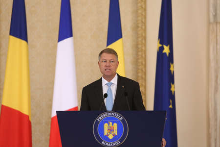 BUCHAREST, ROMANIA - August 24, 2017: Romanian President Klaus Iohannis speaks during the press conference with his French counterpart at Cotroceni Palace. Macron starts in Romania the three-day tour of central and Eastern Europe.