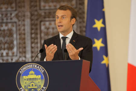 BUCHAREST, ROMANIA - August 24, 2017: French President Emmanuel Macron speaks during the press conference with his Romanian counterpart at Cotroceni Palace. Macron starts in Romania the three-day tour of central and Eastern Europe. Editorial