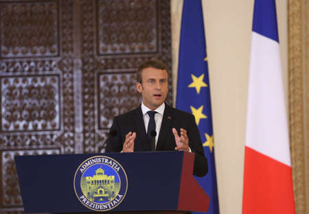 ministry: BUCHAREST, ROMANIA - August 24, 2017: French President Emmanuel Macron speaks during the press conference with his Romanian counterpart at Cotroceni Palace. Macron starts in Romania the three-day tour of central and Eastern Europe. Editorial