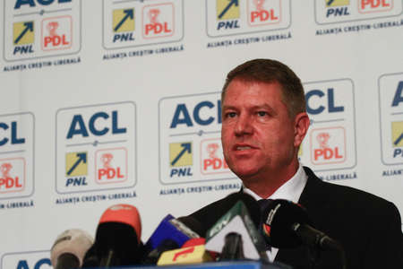 Bucharest, Romania, 24 November 2014: Klaus Werner Iohannis, the candidate of Presidency of Christian Liberal Alliance (PNL and PDL) speaks at the end of elections in a press conference. Editorial
