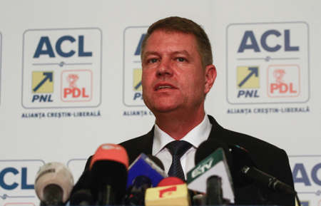 Bucharest, Romania, 24 November 2014: Klaus Werner Iohannis, the candidate of Presidency of Christian Liberal Alliance (PNL and PDL) speaks at the end of elections in a press conference. 新聞圖片