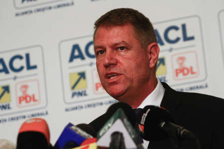Bucharest, Romania, 24 November 2014: Klaus Werner Iohannis, the candidate of Presidency of Christian Liberal Alliance (PNL and PDL) speaks at the end of elections in a press conference. Editöryel