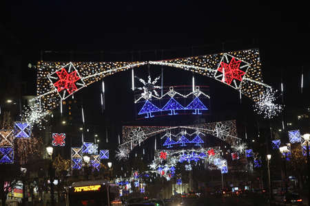 Bucharest, Romania - December 08, 2017: Nightscene in Bucharest center when the Christmas lights and decorations are on. Editorial