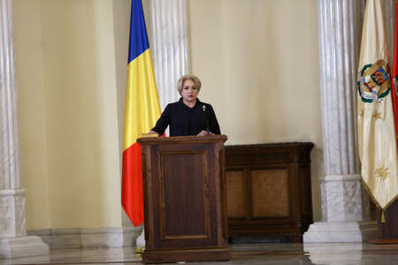 BUCHAREST, ROMANIA  - January 29, 2018: Romanian Prime Minister Viorica Dancila during a swearing-in ceremony at Cotroceni palace in Bucharest. Редакционное