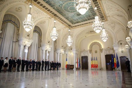 BUCHAREST, ROMANIA  - January 29, 2018: Members of Romania's new cabinet Dancila attend the swearing-in ceremony  during a swearing-in ceremony at Cotroceni palace in Bucharest.