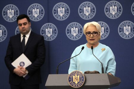 BUCHAREST, ROMANIA - April 14, 2019:  Romanian Prime Minister Viorica Dancila speaks after the ceremony of contract signing for major infrastructure projects. 에디토리얼