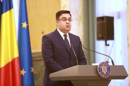 BUCHAREST, ROMANIA - April 14, 2019:  Romanian Minister of Transport, Razvan Cuc speaks after the ceremony of contract signing for major infrastructure projects. 에디토리얼