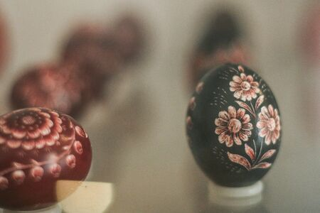 HARGHITA, ROMANIA - March 27, 2010: Hand painted Easter eggs exhibition.