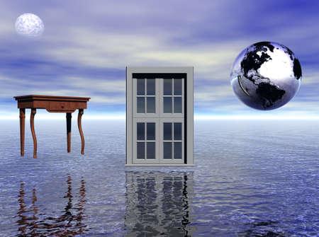 windows and doors: Window, table and earthmoon