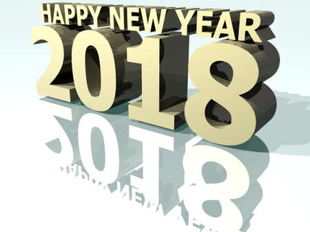 Happy new year 2018 Gold Stock Photo