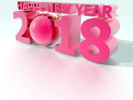 Happy New Year 2018 Christmas ball Pink Stock Photo