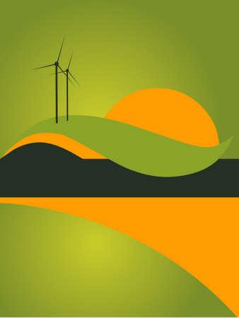 reflective background: landscape catalog flyer background Illustration