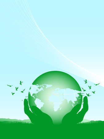 world in hands on a green field and flying birds Stock Vector - 11187728