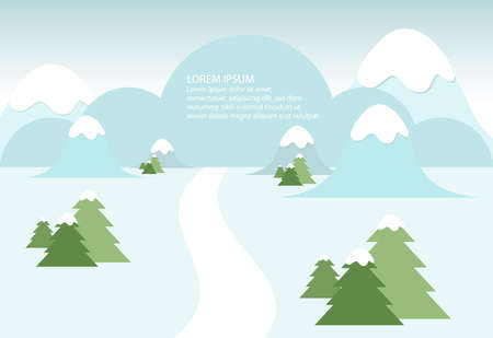 Snowy winter landscape with mountains and trees  Ilustração