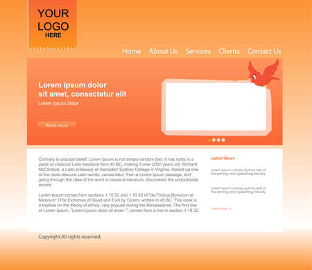 Orange website template Stock Vector - 13129753