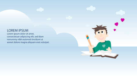 freelance: website banner with boy writting