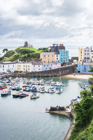 Aerial landscape view of Tenby harbor beach, Wales Stock Photo