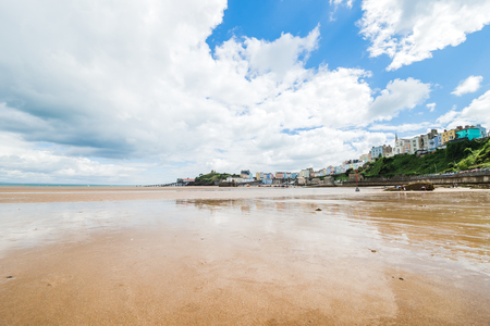 Sandy beach at low tide in Tenby, Wales