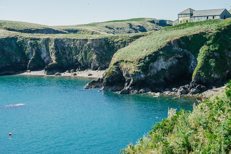 View to the Wardens house on Skomer Island Pembrokeshire West Wales UK