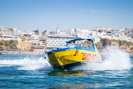 Speed boat or jet boat ride dolphin watching experience by the coasts of Albufeira, Algarve Portugal.