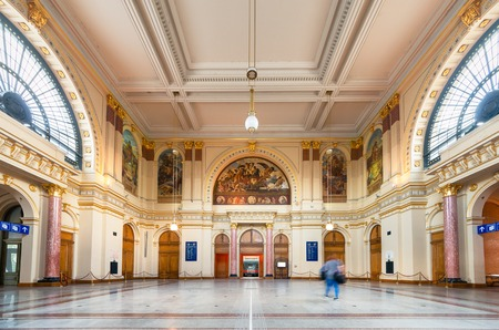 Keleti Tourist Info Hall wide angle interior view in Budapest, Hungary.
