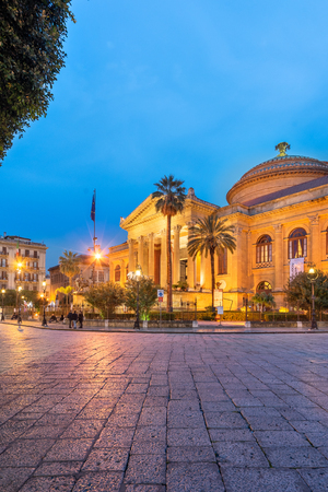 Teatro Massimo or Massimo Theater during twilight in Piazza Verdi at Dusk in Palermo
