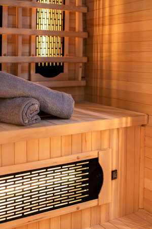 Budapest, Hungary - April 19, 2018: Home sauna with towels prepared in an Airbnb accommodation. 新聞圖片