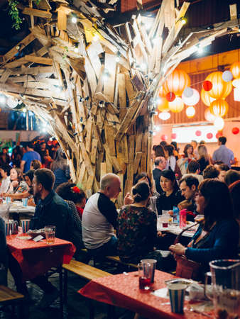 Cardiff, Wales - April 8, 2017: Depot pub in Cardiff filled with people on spanish food festival, United Kingdom