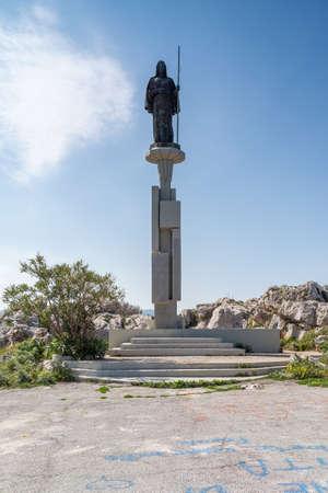 Palermo, Italy - March 23, 2019: Belvedere di Monte Pellegrino lookout on Mount Pellegrino, statue of Santa Rosalia on a sunny day in Palermo, Sicily.