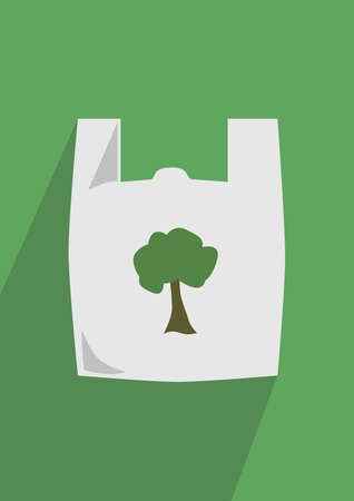 plastic bag: Green Plastic Bag Illustration