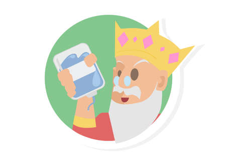 King Bring a Blue Blood Vector Icon Illustration