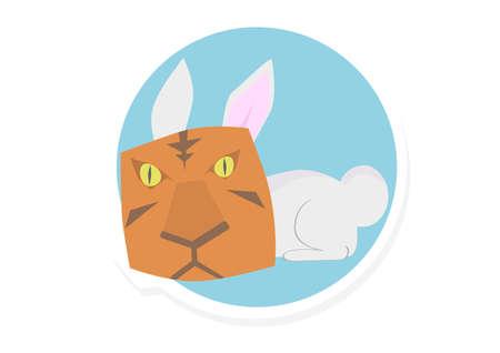 synonym: Rabbit Wear a Tiger Mask Vector