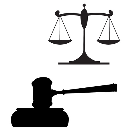 justice hammer: Gavel and Scales of Justice Illustration